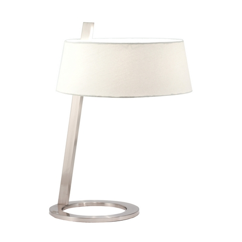 Sonneman Lighting Modern Table Lamp with White Shade in Satin Nickel Finish 7098.13