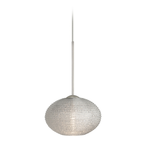 Besa Lighting Modern Pendant Light Ribbed Glass Satin Nickel by Besa Lighting 1XC-5612GL-SN