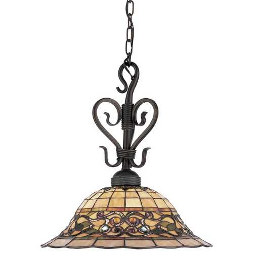 Elk Lighting Pendant Light with Multi-Color Glass in Vintage Antique Finish 362-VA