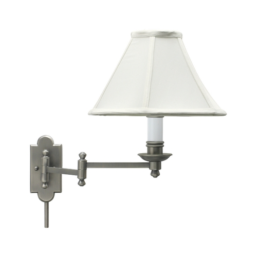 House of Troy Lighting Swing Arm Lamp with White Shade in Antique Silver Finish CL225-AS