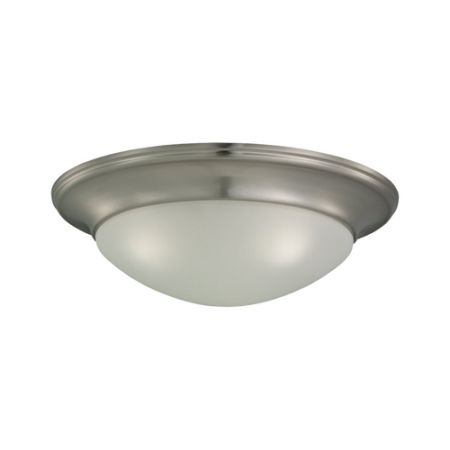 Sea Gull Lighting Flushmount Light with White Glass in Brushed Nickel Finish 75436-962