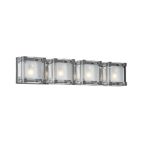 PLC Lighting Modern Bathroom Light with Clear Glass in Polished Chrome Finish 18144 PC