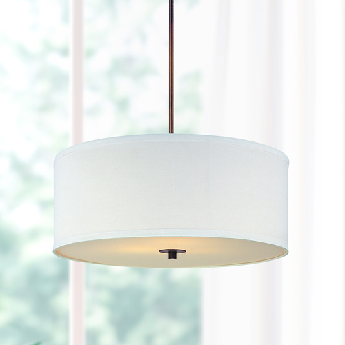 Design Classics Lighting Bronze Drum Pendant Light with White Shade DCL 6528-604 SH7566 KIT