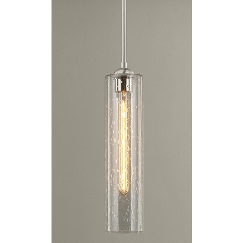 Design Classics Lighting Satin Nickel Mini-Pendant Light with Clear Seedy Cylinder Glass 581-09 GL1641C