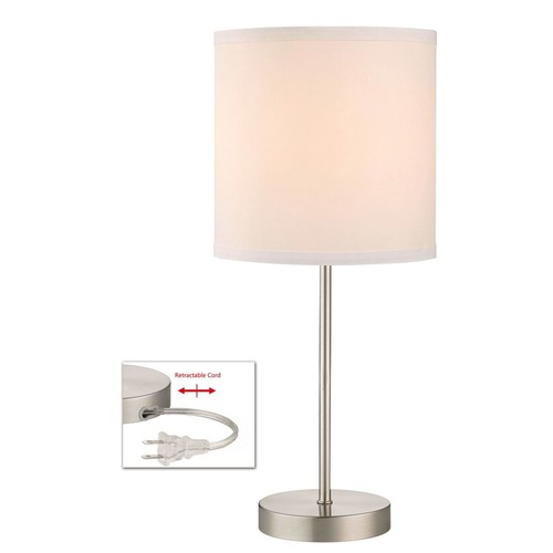 Design Classics Lighting Satin Nickel Table Lamp with White Drum Shade 1904-09 SH9552