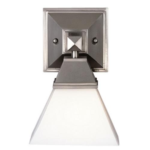 Satin Nickel Singlelight Sconce With Pyramid Shade F473636