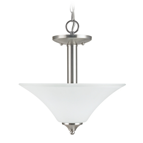 Sea Gull Lighting Pendant Light with White Glass in Brushed Nickel Finish 79806BLE-962