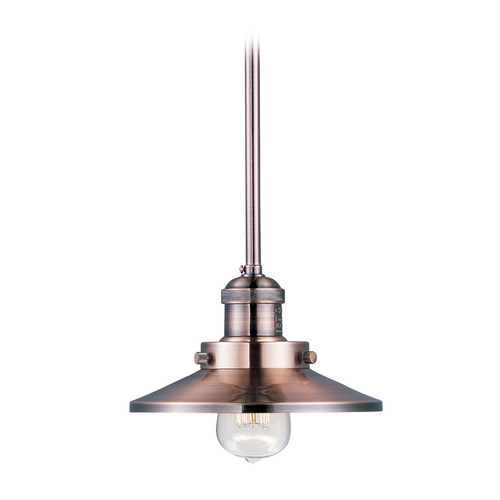 Maxim Lighting Maxim Lighting Mini Hi-Bay Antique Copper Mini-Pendant Light with Coolie Shade 25040ACP