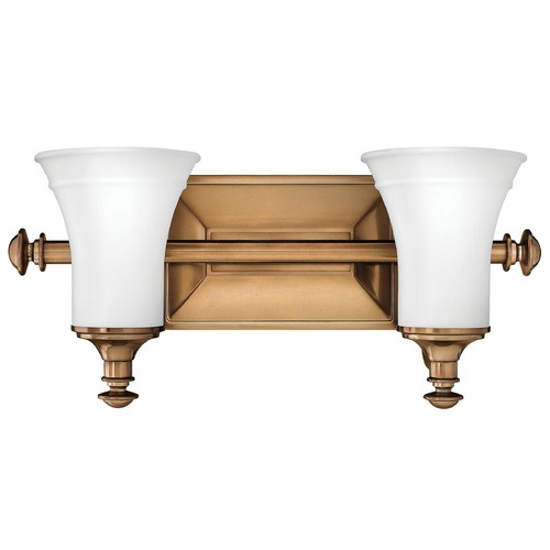Hinkley Lighting Bathroom Light with White Glass in Brushed Bronze Finish 5832BR