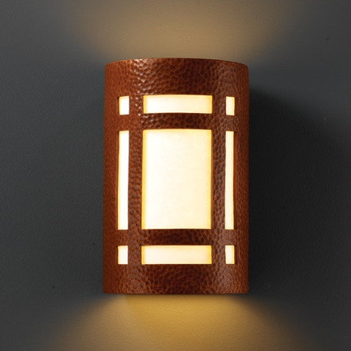 Justice Design Group Sconce Wall Light with White in Hammered Copper Finish CER-7495-HMCP