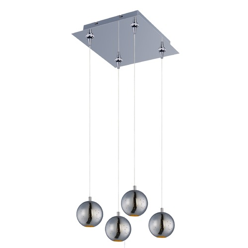 ET2 Lighting Polaris Polished Chrome LED Multi-Light Pendant with Globe Shade E24483-PC
