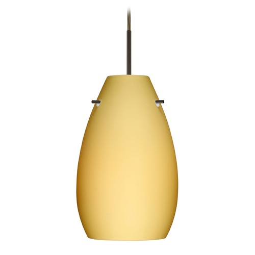 Besa Lighting Besa Lighting Pera Bronze LED Mini-Pendant Light with Oblong Shade 1JT-4126VM-LED-BR