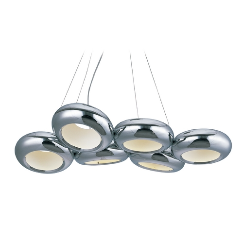 ET2 Lighting Donuts Polished Chrome LED Multi-Light Pendant with Oval Shade E22596-PC
