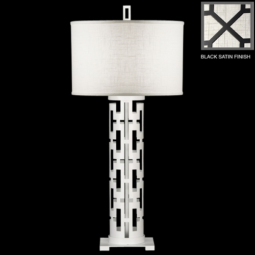 Fine Art Lamps Fine Art Lamps Black + White Story Black Satin Lacquer Table Lamp with Drum Shade 787310-6ST