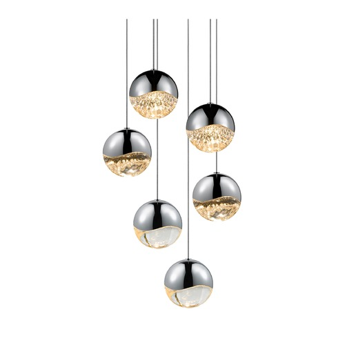 Sonneman Lighting Sonneman Grapes Polished Chrome 6 Light LED Multi-Light Pendant   2915.01-LRG
