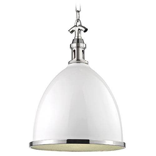 Hudson Valley Lighting Viceroy 1 Light Pendant Light - White / Polished Nickel 7718-WPN
