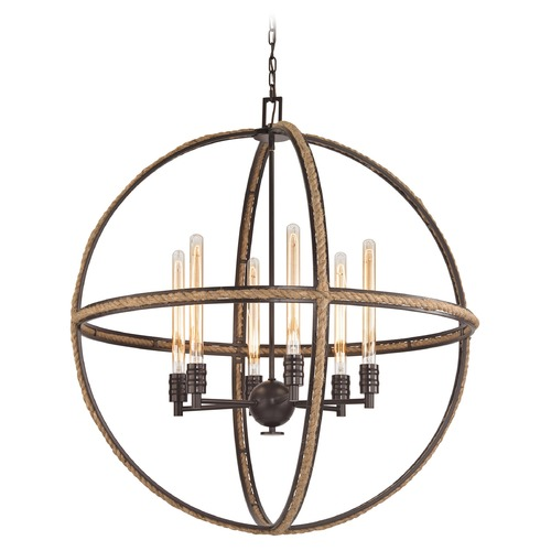 Elk Lighting Elk Lighting Natural Rope Oil Rubbed Bronze Pendant Light 63066-6