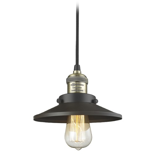 Innovations Lighting Innovations Lighting Railroad Black Antique Brass Mini-Pendant Light with Coolie Shade 201C-BAB-M6