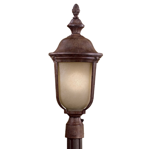 Minka Lighting Post Light with Beige / Cream Glass in Vintage Rust Finish 8995-61-PL