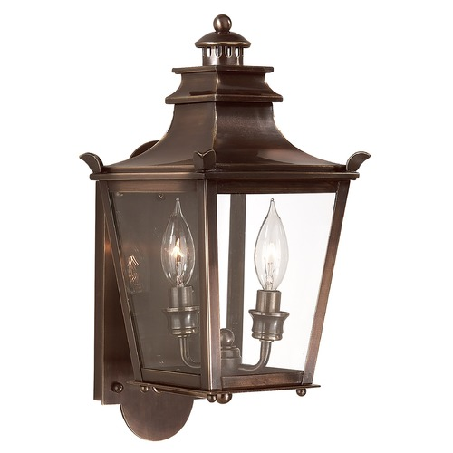 Troy Lighting Outdoor Wall Light with Clear Glass in English Bronze Finish B9490EB