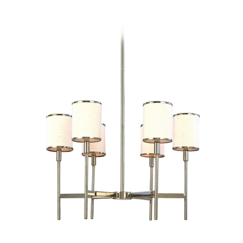 Hudson Valley Lighting Chandelier with White Shades in Polished Nickel Finish 626-PN