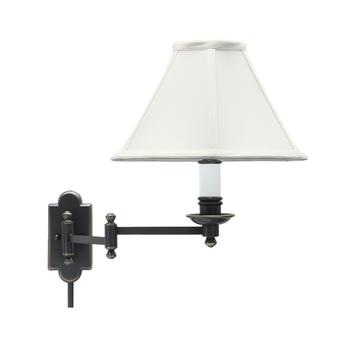 House of Troy Lighting Swing Arm Lamp with White Shade in Oil Rubbed Bronze Finish CL225-OB