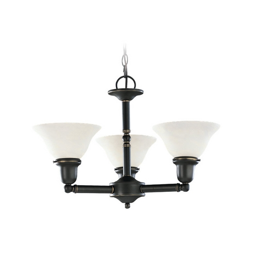 Sea Gull Lighting Chandelier with White Glass in Heirloom Bronze Finish 39061BLE-782