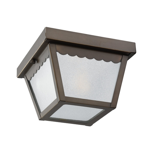 Sea Gull Lighting Close To Ceiling Light with White Glass in Antique Bronze Finish 75467-71