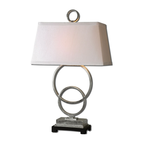 Uttermost Lighting Modern Table Lamp with White Shade in Silver Leaf Finish 27452