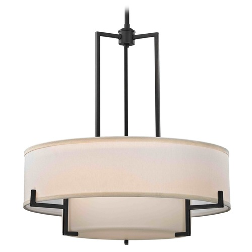 Design Classics Lighting Drum Pendant Light with White Glass in Bronze Finish 7012-78