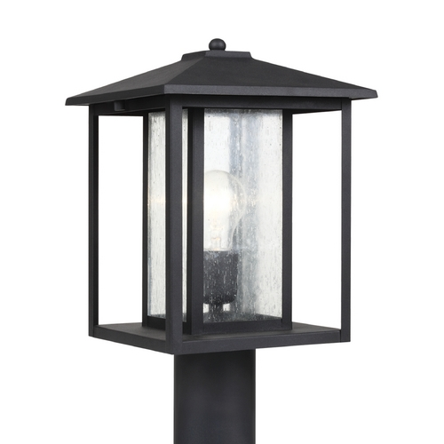 Sea Gull Lighting Post Light with Clear Glass in Black Finish 82027-12