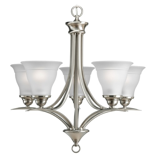 Progress Lighting Progress Chandelier with White Glass in Brushed Nickel Finish P4328-09