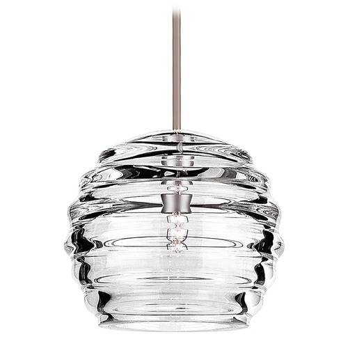 WAC Lighting Wac Lighting European Collection Brushed Nickel Mini-Pendant with Fluted Shade MP-916-CL/BN