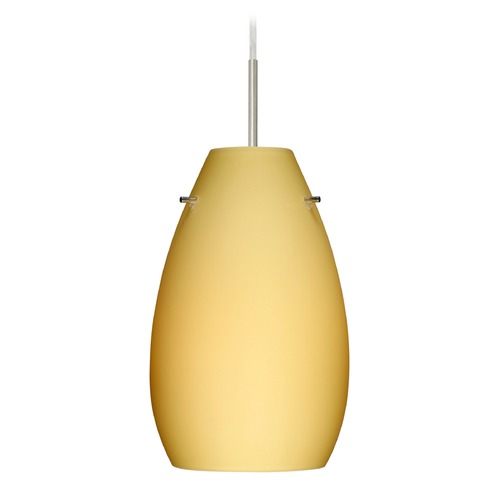 Besa Lighting Besa Lighting Pera Satin Nickel LED Mini-Pendant Light with Oblong Shade 1JT-4126VM-LED-SN