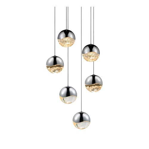 Sonneman Lighting Sonneman Grapes Polished Chrome 6 Light LED Multi-Light Pendant   2915.01-MED