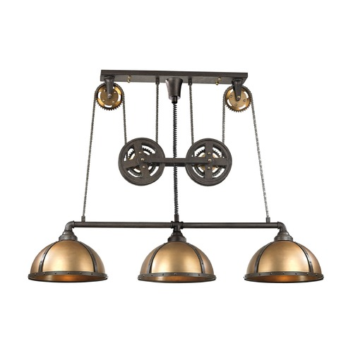 Elk Lighting Elk Lighting Torque Vintage Rust, Vintage Brass Island Light with Bowl / Dome Shade 65152/3