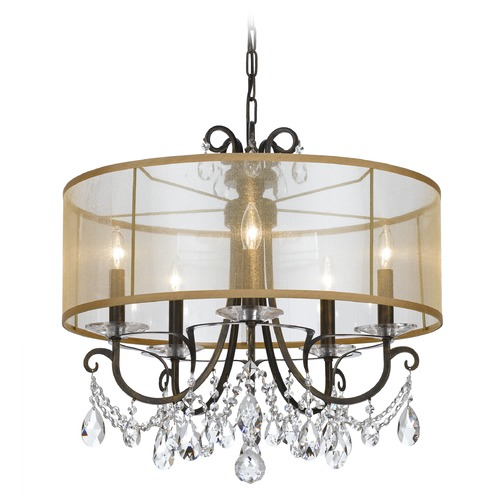 Crystorama Lighting Crystorama Lighting Othello English Bronze Pendant Light with Drum Shade 6625-EB-CL-MWP