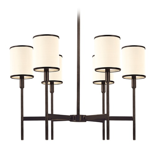 Hudson Valley Lighting Chandelier with White Shades in Old Bronze Finish 626-OB