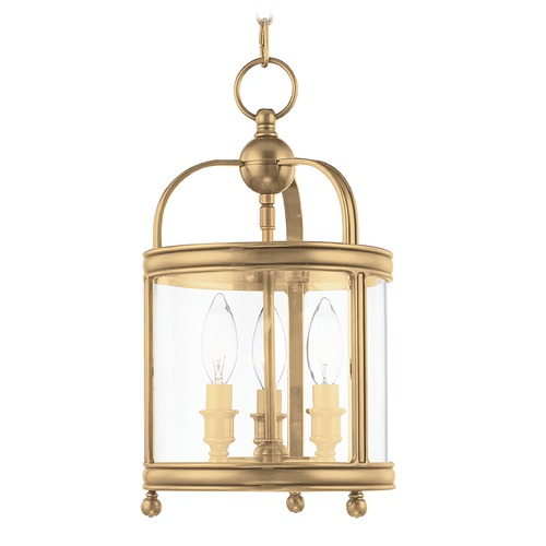 Hudson Valley Lighting Mini-Pendant Light with Clear Glass in Aged Brass Finish 7809-AGB