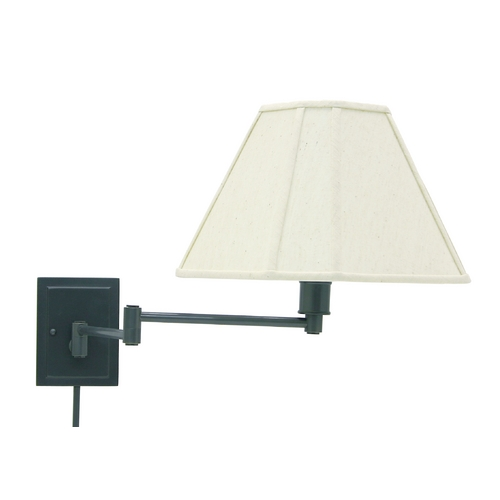 House of Troy Lighting Swing Arm Lamp with White Shade in Oil Rubbed Bronze Finish WS16-91