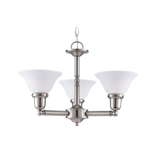 Sea Gull Lighting Chandelier with White Glass in Brushed Nickel Finish 39061BLE-962