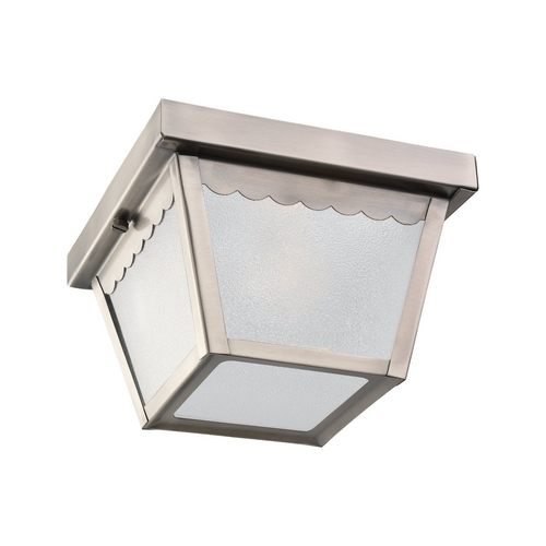 Sea Gull Lighting Close To Ceiling Light with White Glass in Antique Brushed Nickel Finish 75467-965