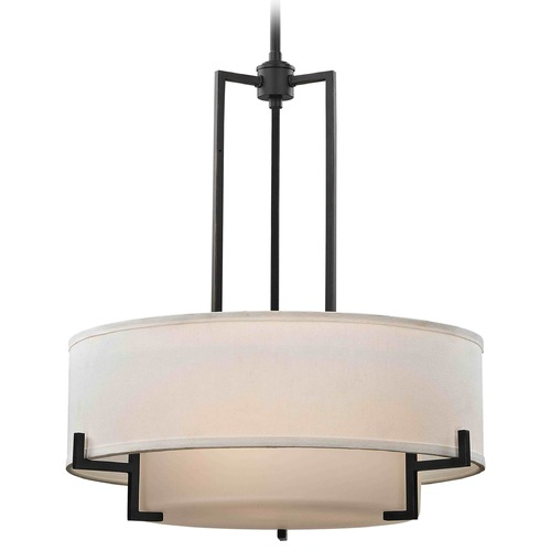 Design Classics Lighting Modern Drum Pendant Light with White Glass in Bronze Finish 7013-78
