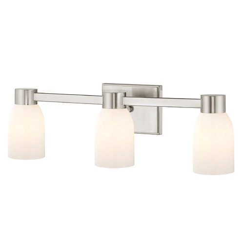Design Classics Lighting 3-Light Shiny White Glass Bathroom Vanity Light Satin Nickel 2103-09 GL1024D