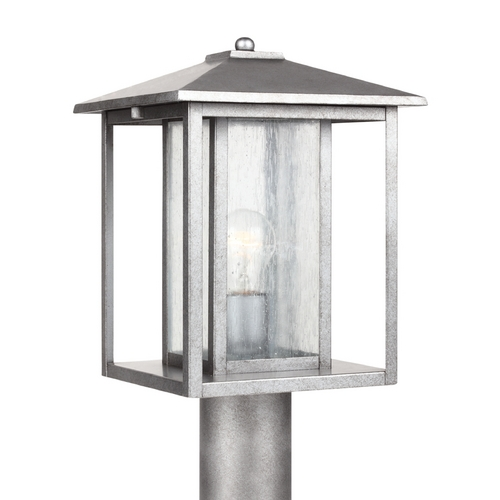 Sea Gull Lighting Post Light with Clear Glass in Weathered Pewter Finish 82027-57