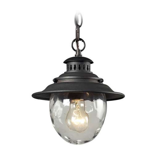 Elk Lighting Outdoor Hanging Light with Clear Glass in Weathered Charcoal Finish 45041/1