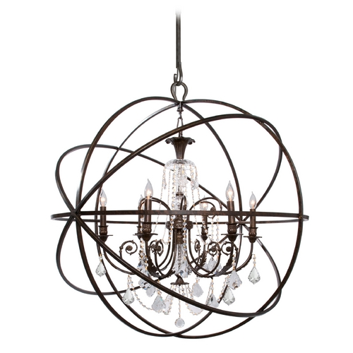 Crystorama Lighting Pendant Light in English Bronze Finish 9219-EB-CL-MWP