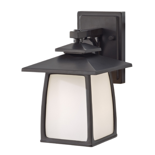 Sea Gull Lighting Outdoor Wall Light with White Glass in Oil Rubbed Bronze Finish OL8500ORB