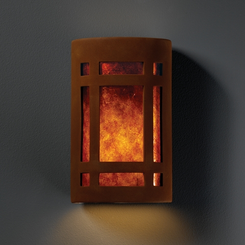 Justice Design Group Sconce Wall Light with White in Real Rust Finish CER-7495-RRST
