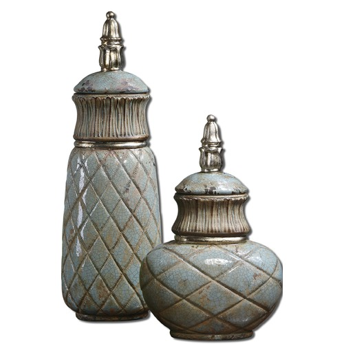 Uttermost Lighting Uttermost Deniz Sea Foam Ceramic Containers Set of 2 19689